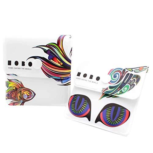 Xhuan Bolsas de Ceniza 2 de Bolsillo Blancas - PVC Resistente al Fuego - Sin olores - Compacto portátil - Pez Arco Iris de diseño Exclusivo y Gato psicodélico