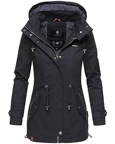 Marikoo Damen Jacke Frühling Übergangsjacke leicht Parka Mantel Kapuze B690 [B690-Nyok-Navy-Gr.XL]