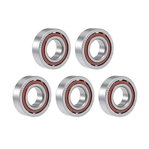 uxcell 7002AC Rodamiento de bolas de contacto angular 0.591x1.260x0.354in, fila única, abierto, ángulo de contacto de 25° 5pcs