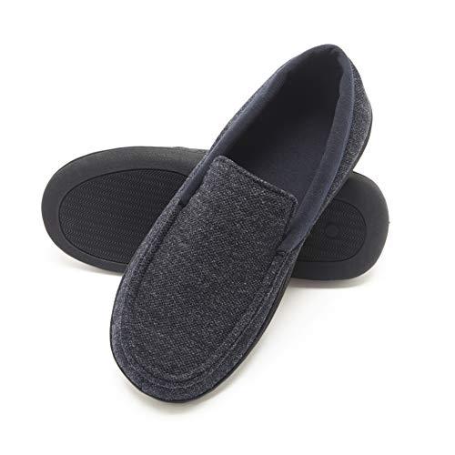 Hanes Men's Slippers House Shoes Moccasin Comfort Memory Foam Indoor Outdoor Fresh IQ (X Large (11-12), Navy/Blue)