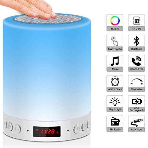 Ishua 1 PC Lámpara de mesilla Luz de humor con altavoz Bluetooth Luz de despertador con radio FM Reloj despertador digital Reloj digital Lámpara portátil regulable