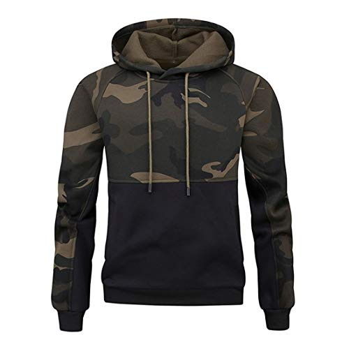 Men Hoodie Men Sweatshirt Comfortable Elastic Fiber All-Match Sports Style Men Hoodie Autumn New Camouflage Drawstring Easy Outdoor Trendy Men Streetwear ZZ-Black. M