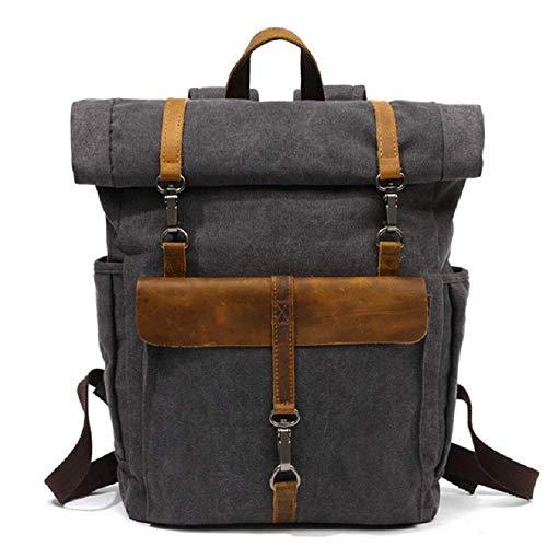 Generic Brands Neuer Retro Casual Laptop Rucksack, hochwertig wasserdicht, geeignet für den Outdoor-Freizeitreiserucksack junger Leute, hochwertiges Canvas + Leder