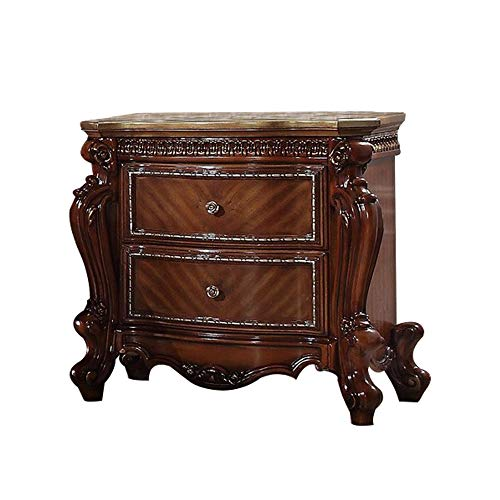 Benjara 2 Drawer Wooden Nightstand with Metal Knobs and Carved Details, Brown