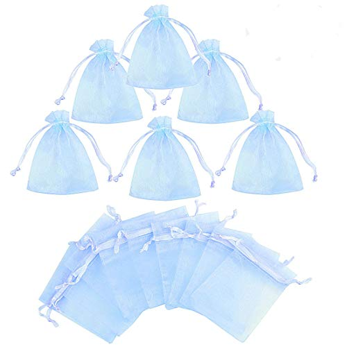 Gudotra 50pz Sacchetti Organza Confetti Cielo Blu Portaconfetti per Matrimonio Battesimo Regalo Caramelle Confetti Gioielli(7cm*9cm)