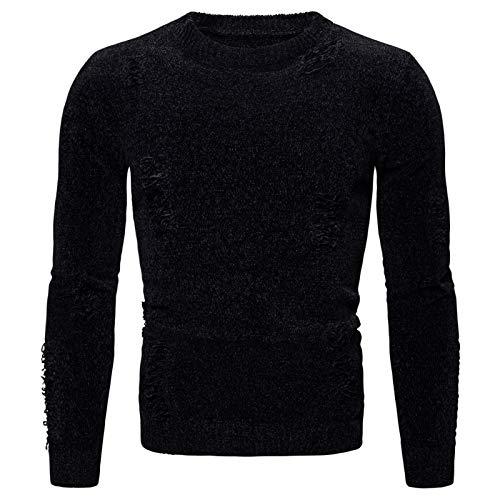 Mr.BaoLong&Miss.GO Men Round Neck Sweater Men Knit Sweater Men Solid Color Round Neck Sweater Men European Size Knitted Sweater Black