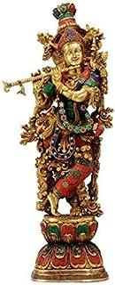Large Standing Brass Krishna Statue   Krishna Murti Multicolor with Flute (H-29 Inchs)