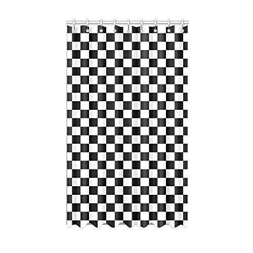 Rtosd Vorhänge für Badezimmerfenster schwarz und weiß kariert Rennflagge Vorhänge Verdunkelung 50 x 84 Zoll EIN Stück für Patio Glasschiebetür/Schlafzimmer