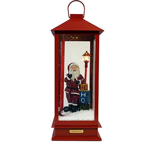 LED Schneelaterne Santa mit Musik LED Schneelaterne Santa Schneekugel Laterne Xmas Deko Schnee Batterie (groß)