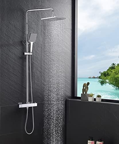 Kaibor Duschsystem Luxus mit Duscharmatur Thermostat, Regendusche (22 x 22 cm), Duschkopf mit Schlauch und höheverstellbarer Duschstange, chrom.