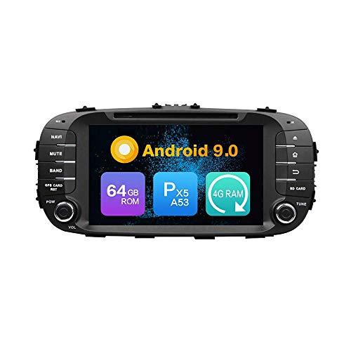 ZERTRAN Android 9.0 Core PX5 4G RAM 64GB ROM Autoradio GPS Navigation Reproductor Multimedia Car Stereo Control de Volante de Unidad Principal de Radio por KIA Soul 2014 2015 2016