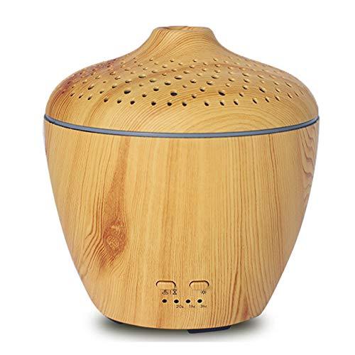 Diffuseur Ultrasonique D'aromatherapy De Grain en Bois 200ml Diffuseur D'huiles Essentielles 7 Lumières Colorées De LED pour Le Bureau De Voiture,D-11.5 * 14cm