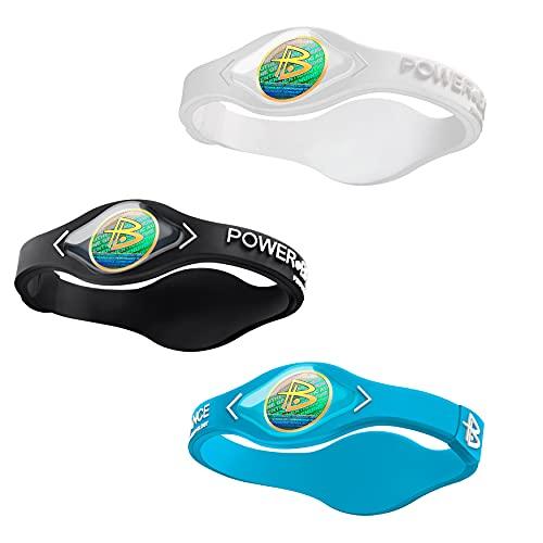 Power Balance the Original Genuine Performance Wristband, Silicone rubber Wristbands Bracelets sports bracelet wristband for men women, power 3 pack bangles, safe Waterproof Lightweight durable, size of M+M+L(M 19.0CM/L 20.5CM) (White-M+Aqua Blue-M+Black-L)