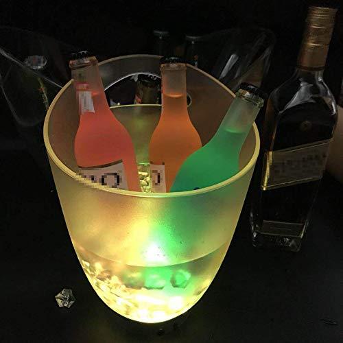 NAY Cubo De Champán Ice Bucket,Hielo Luminoso LED Cubeta,Cubo De Hielo De Plástico Redondo LED,para Fiesta Hogar Bar