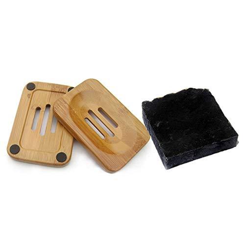 Mijo No.01 Schwarze Seife Naturseife mit Bambus Aktivkohle Bio Olivenöl für Gesicht gegen Pickel ca. 100g + Seifenschale