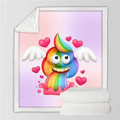 ZMK-720 Ropa de Cama Rainbow Poop Blankets For Bed Unicorn Emoji Furry Blanket Colourful Funny Smiley Face Colcha Cartoon Kids Mantas@1_Los 75cmx100cm