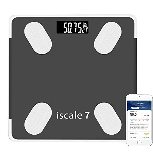 QMKJ Bluetooth Smart Bathroom Scale Voice Broadcast Body Fat Scale Mit Smartphone-App USB Charging Tempered Glass Surface 180KG Pink Black,Black