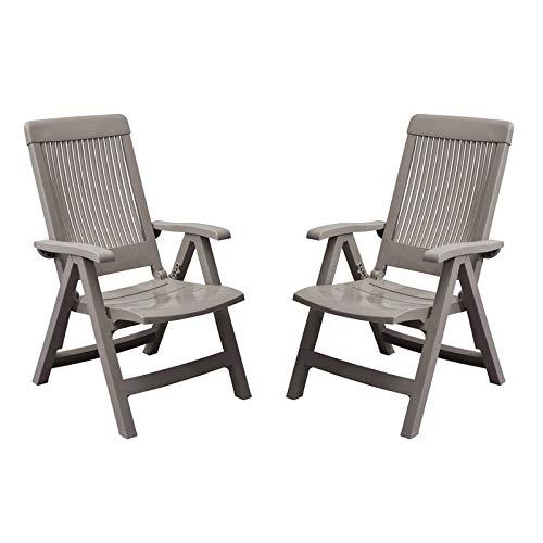 GROSFILLEX Lot de Deux fauteuils Fidji avec Dossier réglable Taupe