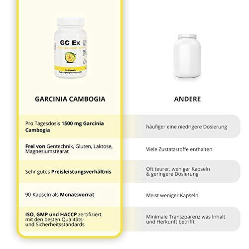 GC Ex, 1500 mg Garcinia Cambogia Extrakt, 90 Kapseln in Premiumqualität, hochdosiert, 100% natürlich 1er Pack (1x 77g) - 4