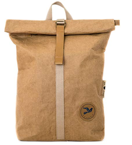 Monaco di Bavaria PAPERO ® Rucksack aus Kraft Papier - wasserfest & robust Daypack für Damen & Herren - Rolltop Tasche & veganem Leder -Alltag & Uni 17 Zoll Laptop nachhaltig (18L, hellbraun)