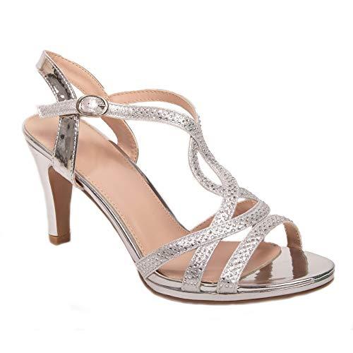 Primtex - Zapatos de boda para mujer con purpurina y brillantes, tacón de 6 cm, brida de fantasía, (plata), 35 EU