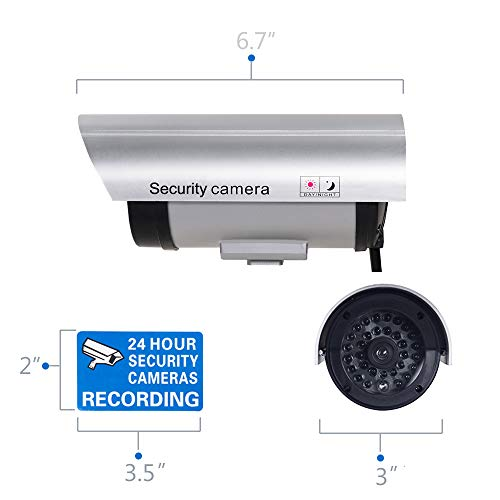 WALI Bullet Dummy Fake Surveillance Security CCTV Dome Camera Indoor Outdoor with 30 Illuminating LED Light and Security Alert Sticker Decals (S30-4), 4 Packs, Silver