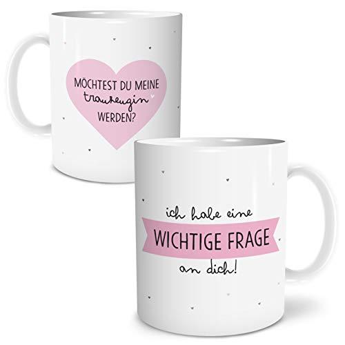 OWLBOOK Frage Trauzeugin Große Kaffee-Tasse mit Spruch im Geschenkkarton Geschenke Geschenkidee für Trauzeugin Hochzeit Ostern