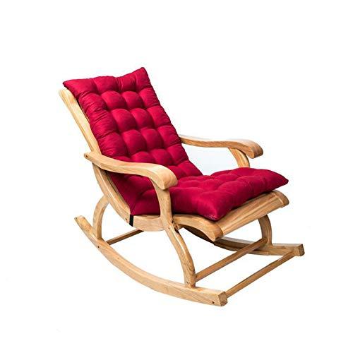 Hidyliu Cojín de ante antideslizante para tumbonas de jardín, reclinable y acolchado grueso con lazos (claret)