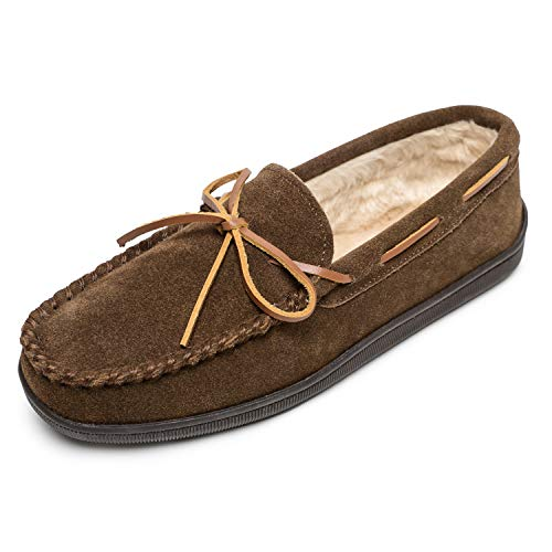 Minnetonka Men's Pile Lined Hardsole Slippers Brown 8 S