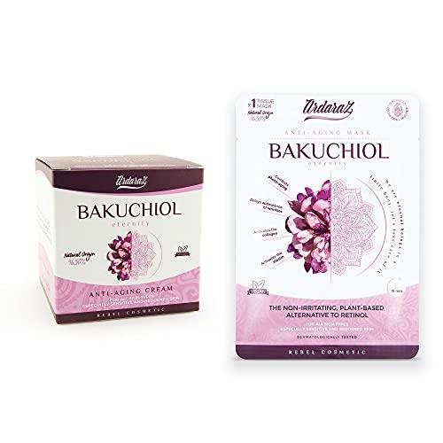 Ardaraz -Crema facial Hidratante + mascarilla - Antioxidante y Rejuvenecedora, concentrada en Bakuchiol. Crema de noche y de día 50 ml.