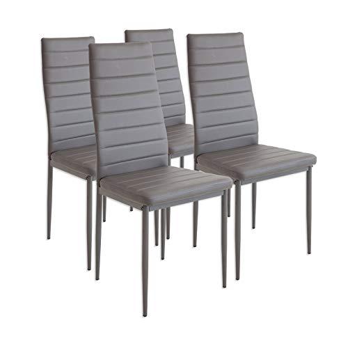 Albatros 2553 MILANO Set de 4 sillas de comedor, gris