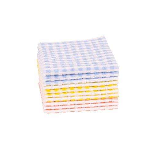 Clarysse Baumwoll Lappen im 10er Set zur Reiningung des Geschirrs, fusselfreies Baumwolltuch im Retro Stil, Haushaltstuch für Hochglanz Küchen, 33x33cm, 3 Farben, Gelb, Blau, Hell rot