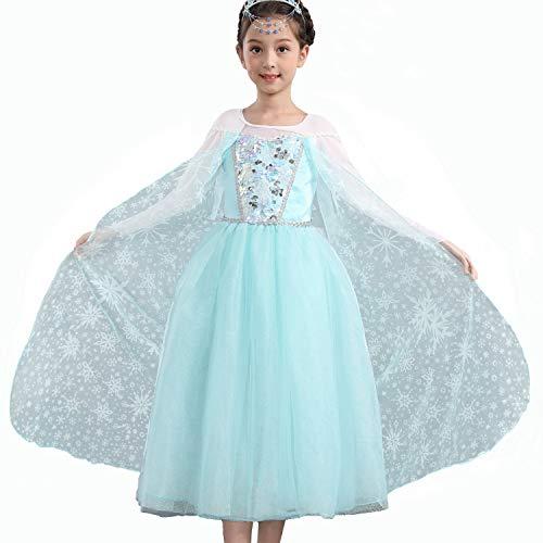 meisjes Anna Elsa kostuum jurk met sneeuw patroon mantel voor prinses partij cosplay kerst outfit
