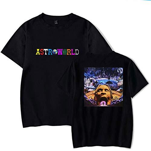 JJZHY Travis Scott Album T-Shirt en Coton imprimé Double Face personnalisé Astroworld Unisexe,Noir 01,M