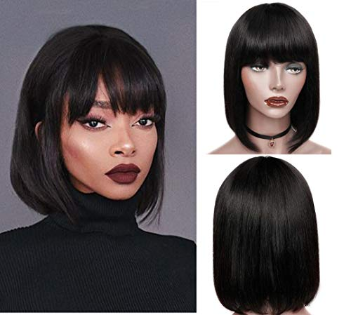 Perücke Bob With Bangs Brazilian Straight Echthaar Perücke Schwarz Human Hair Bob Wigs 150% Density Natural Black Color 8 Zoll