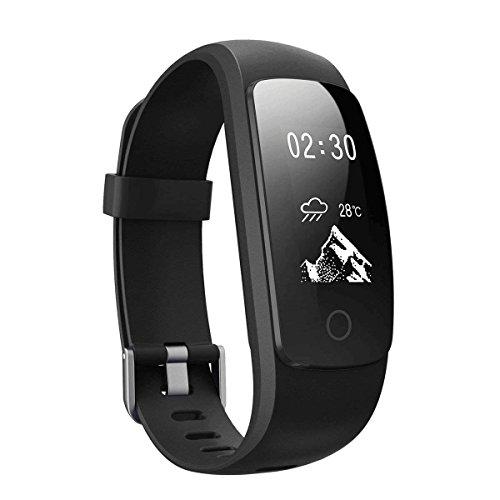 YANGFH Pulsera Inteligente ID107 Plus HR Ritmo Cardíaco Deportes Paso Pulsera Bluetooth Soporte De Reloj Reloj Inteligente (Color : Black)