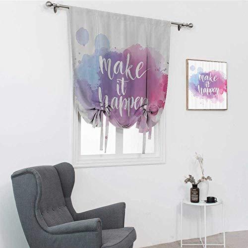 GugeABC Lifestyle Decor Lush Decor Curtains, Make It Happen Hand Written Positive Quote in Paintbrush Motivational Art Roman Blinds for Window, Blue Fuchsia, 48' x 64'