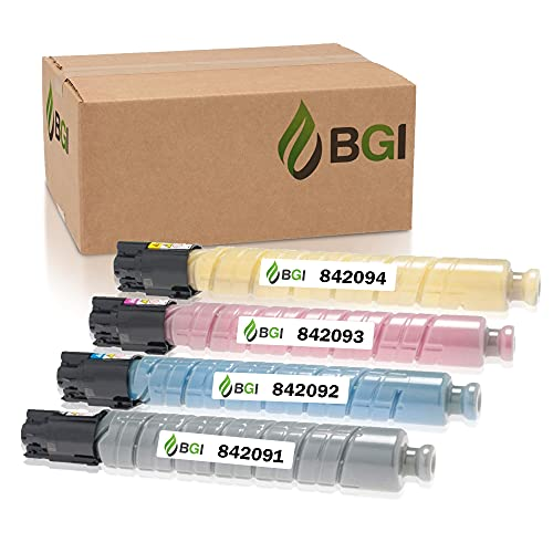 BGI Compatible Replacement Toner for Ricoh MP C307 MP C306 MP C406 MP C407 Toner Ink | 842091,842092, 842093, 842094 | 4-Pack High Yield