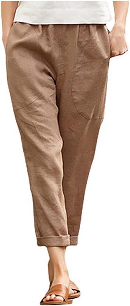 Women's Casual Linen Pants Soft Cropped Summer Cotton Beach Elastic Waist Comfy Trousers with Pockets