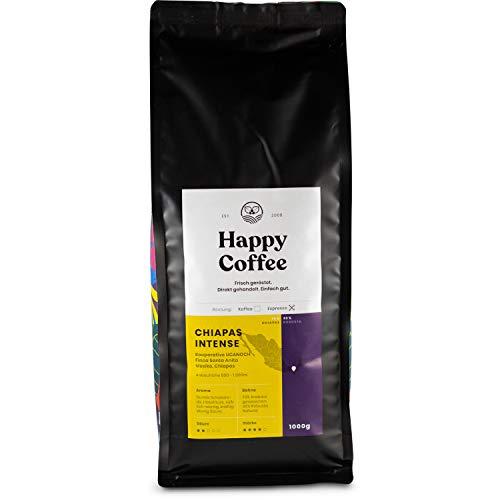 Happy Coffee CHIAPAS INTENSE Espressobohnen | Stark & kräftige Crema | 70% Arabica 30% Robusta (Ganze Bohnen) (1 KG)