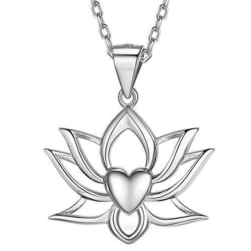 FaithHeart Flor Loto Lotus Corazón Plata de Ley 925 Oro Blanco Platino Plateado Collar Yoga Cadena Delgada Elegante Regalo Romántico Puro Tranquilo Símbolo