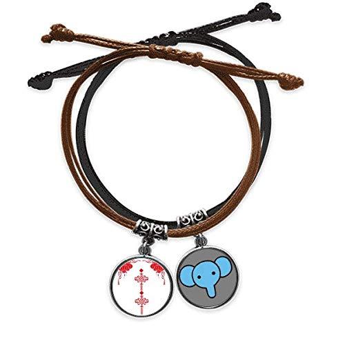 CaoGSH Armband mit chinesischem Knotenmuster, rote Laterne, Lederarmband, Elefanten-Armband