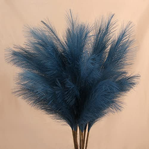 ZIFTY 8-Pcs 3.0FT Artificial Pampas Grass Large Tall Fluffy Faux Bulrush Reed Grass for Vase Filler Living Room Kitchen Boho Decor (Blue)