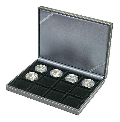 LINDNER Das Original NERA Münzkassette XM mit 12 quadratischen Fächern für Münzen/Münzkapseln bis Außen-Ø 52 mm