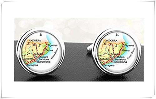 Heng Yuan Manschettenknöpfe mit Motiv Einer Karte von Tanneng, Spanien, Barcelona, Badalona, Mataro, Figuren Girona Andorra, Europa EU