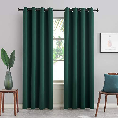 BERSWAY Blackout Curtains & Drapes Panel for Living Room Darkening Curtain 96 Inch Length Thermal Insulated Curtain for Bedroom-Dark Green 96 Inches Long Grommet Window Curtain 2 Panels Set,W52 xL96
