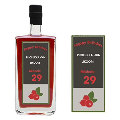 Personalisierbares Flaschenetikett Helsinki Puolukka-Likoori Gin-Flaschenetikett für Geburtstag und jeden Anlass