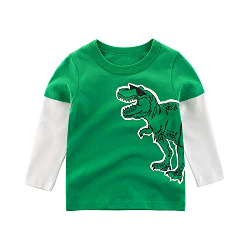 heavKin-Clothes 1-7Y Middle-Small Children Kids Baby Boys Blouse Tops Dinosaur Print Stitching Sleeve Shirt T-Shirt Sweatshirt (Green, 4-5 Years)