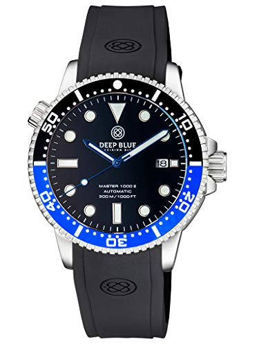 Deep Blue Master 1000 Foot Water Resistant Large Diver Heavy Duty Automatic Dive Watch 44mm Helium Release Valve Date Window Generation 2 M1.2BKBAT-S
