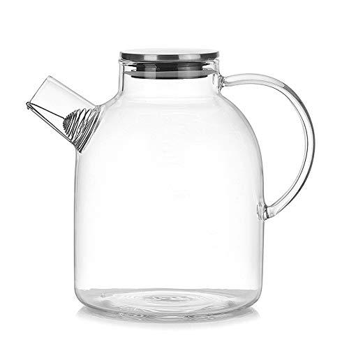 Jarra de Agua de 1600 ml, Tetera de Vidrio Transparente Resistente Tetera Jarra de Jugo de café con colador Inoxidable Funcional